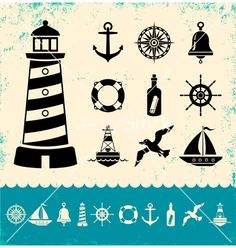 Marine icons vector - by serazetdinov on VectorStock®