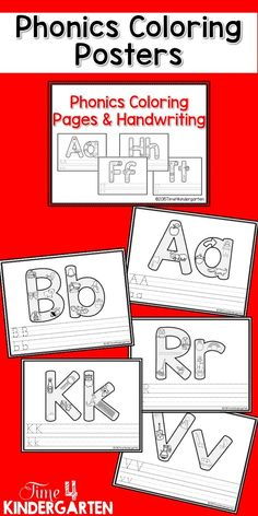 Phonics coloring and handwriting pages