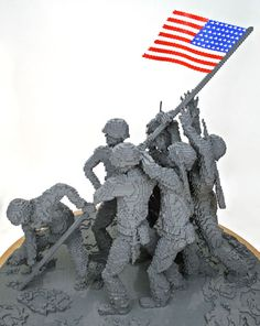 """Installation:  """"Iwo Jima Replica"""" - Lego art by Nathan Sawaya;  for the National Museum of the Marine Corps (2006);  75"""" x 75"""" x 68"""""""