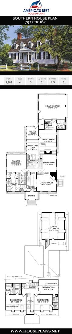 58 Ideas House Plans One Story 3 Bedroom Porches Bonus Rooms For 2019 Craftsman Farmhouse, Craftsman House Plans, Southern House Plans, Southern Homes, Southern Charm, House Plans One Story, New House Plans, Entrance Design, House Entrance