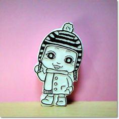 ベイビーサキ冬のおでかけファッションでキメポーズ☆の巻 precocious little girl stamp