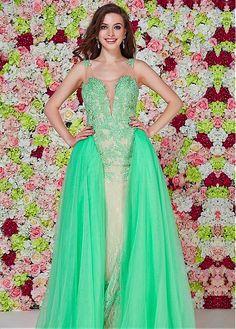 Chic Tulle & Lace Scoop Neckline A-Line Evening Dresses With Lace Appliques  Show Options  http://weddingplanningadvice.net/wedding-dresses/chic-tulle-lace-scoop-neckline-a-line-evening-dresses-with-lace-appliques/