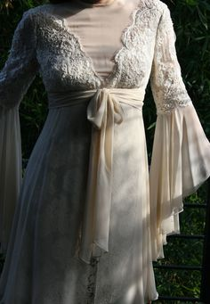 vintage cream lace and silk chiffon bell sleeve dress
