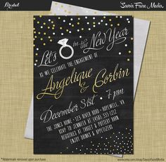New Years Engagement Party Invitation Modern Vintage Rustic Chalkboard Confetti / New Years Eve Couples Shower Gold Silver Confetti Engaged
