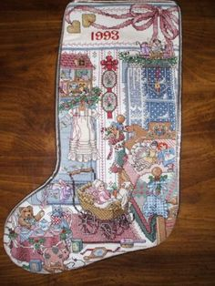 COMPLETE-CROSS-STITCH-COUNTRY-CRAFT-HEIRLOOM-CHRISTMAS-STOCKING-SUGAR-N-SPICE EBAY AUCTION