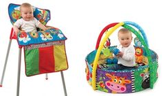 Converter cover can be used as a trolly or high-chair cover or a play mat; activity gym ideal for stimulation and sensory development