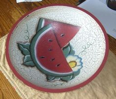 Painted wooden bowl, watermelon, floral, distressed look