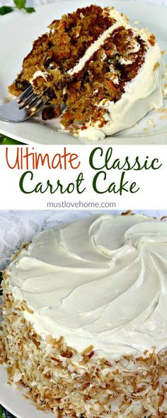 Loaded with carrots, pineapple,coconut,raisins and walnuts this ultimate Classic Carrot Cake Recipe is truly decadent. Finished with a thick layer of cream cheese frosting and toasted coconut makes this cake worthy of any special occasion. Just Desserts, Delicious Desserts, Dessert Recipes, Yummy Food, Vegan Desserts, Food Cakes, Cupcake Cakes, Muffin Cupcake, Baking Cakes