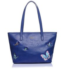Fable Large Butterfly Tote ($44) ❤ liked on Polyvore featuring bags, handbags, tote bags, butterfly tote, embroidered purse, shoulder strap purses, blue tote bag and logo tote bags