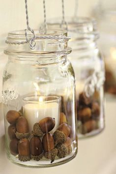 Got acorns? I've been consumed with what I can do to decorate for fall, yet stay on a budget. These acorn crafts will help me do just that! decoration mason jars 10 Awesome Acorn Crafts - Fall Decorating on a Budget Decoracion Low Cost, Acorn Crafts, Crafts With Acorns, Vase Fillers, Fall Diy, Votive Candles, Beeswax Candles, Ideas Candles, Battery Candles