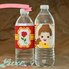 Beauty and the Beast Birthday Party Printable Water bottle Label, Belle Birthday Party Supplies, Disney Princess Birthday Supply on Etsy, $5.00