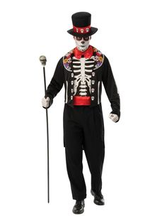 Flamboyant Day Of The Dead Man Costume. Special Collection of Skeleton Costumes for Halloween, Day of the Dead at PartyBell. Holiday Costumes, Halloween Costumes, Skeleton Costumes, Wicked Costumes, Halloween Halloween, Vintage Halloween, Halloween Makeup, Dress Up Costumes, Adult Costumes