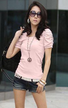 Pink Simple Slim Cotton T-Shirt Korean Style