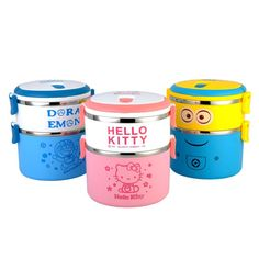 Cartoon 3 Layer Lunch Box for Kids Thermos Food Container Bento Box LunchBox