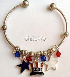 USA Flag Charm Bracelet Silver Plated Enamel Beads Americana American Patriotic #Unbranded #SlideSlider