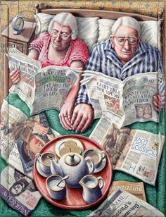 Sunday Morning Tea (Reading in Bed) Giclee Print at AllPosters by P. Vieux Couples, Old Couples, Good Books, My Books, Sunday Readings, Image Digital, Growing Old Together, Images Gif, Reading In Bed