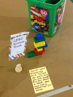 Count Your Blessings – Kids stack Legos, or Duplos, thanking God for a blessing with each one.