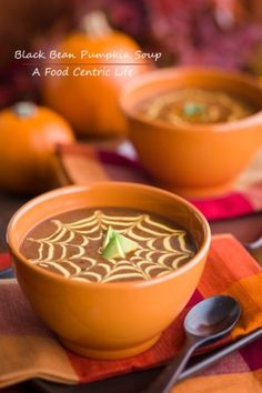 Pumpkin Soup - what a cute way to serve.  (Any recipe - I just like the spider webs.)