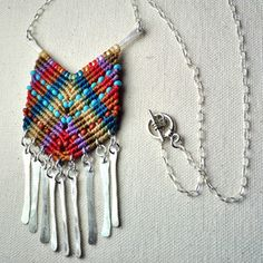 Modern Macramé Jewelry    Amira Jewelry pieces come straight from the hand of designer and artist Amira Mednick. Influenced by traditional South American macramé, Mednick learned to knot by hand, then concentrated on transforming her creations into wearable art. Her macramé pendants, earring and rings are joyful bursts of hand-woven color.