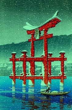 "Kawase Hasui: ""Snow on Miyajima shrine"" Japanese Artwork, Japanese Painting, Japanese Prints, Chinese Painting, Chinese Art, Geisha, Samurai, Art Chinois, Art Asiatique"