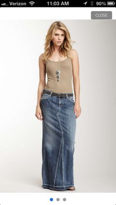 Denim maxi skirt: I could make this one myself!