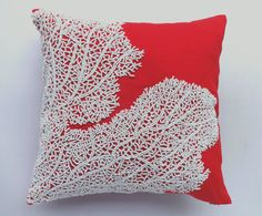 Beaded red coral branch pillow. Coastal inspired throw pillow and cushion cover made with hand loom fabric with coral fan bead embroidery.