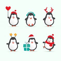 christmas penguin characters - set of winter cartoon vector illustrations Penguin Cartoon, Penguin Art, Cartoon Wall, Pinguin Illustration, Cute Illustration, Christmas Classroom Door, Noel Christmas, Christmas Cartoons, Christmas Characters