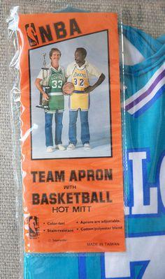 Vintage Charlotte Hornets Team Apron with Basketball Hot Mitt