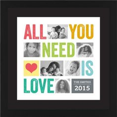 All You Need Is Love Framed Print, Black, Contemporary, Black, Black, Single piece, 16 x 16 inches