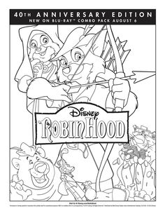 Get your family ready for the Robin Hood 40th Anniversary Blu-ray Combo Pack with this coloring sheet!