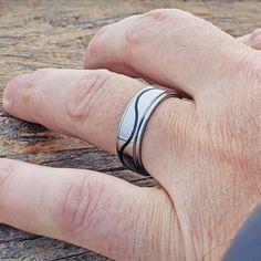 Doppler Black Grooved Inlay Rings Black Tungsten Rings, Tungsten Carbide Rings, Black Rings, Silver Rings, Wave Ring, Wedding Bands, Rings For Men, Metals, Men Rings