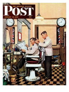 """""""Barber Getting Haircut,"""" Saturday Evening Post Cover, January 26, 1946 Giclee Print by Stevan Dohanos at AllPosters.com"""