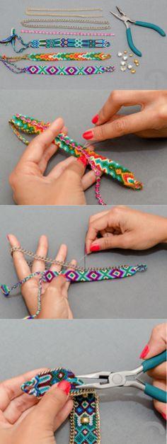 DIY Crimenes de la Moda - Pulseras macrame personalizadas con cadenas, tachuelas y strass - Custom Bracelets studds chains