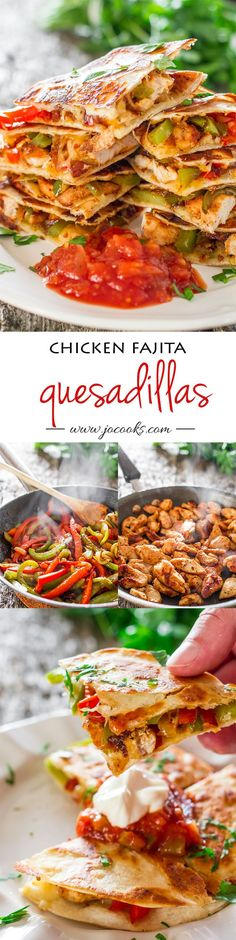 Chicken Fajita Quesadillas - sauteed onions, red and green peppers, perfectly seasoned chicken breast, melted cheese, between two tortillas. Simple to make and simply yummy. Mexican Food Recipes, Dinner Recipes, Mexican Dishes, Mexican Easy, Vegetarian Mexican, Mexican Night, Tacos, Good Food, Yummy Food