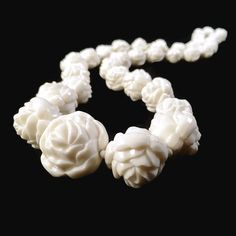 Vintage Celluloid Rose Beaded Necklace  Art Deco by VintageVybe
