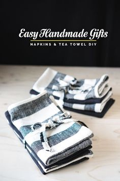 EASY HOMEMADE GIFTS: MITERED NAPKINS & TEA TOWEL DIY | Closet Case Files | Bloglovin'