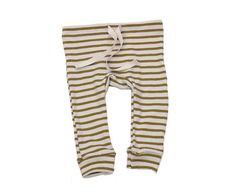 organic cotton drawstring striped leggings - natural/chartreuse