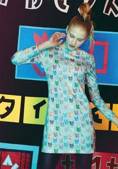 Vestido recto estampado personalizado con gatitos trinis de Dolores Promesas…