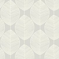 Arthouse Retro Leaf Wallpaper - Silver