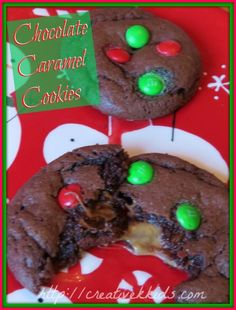 Chocolate Caramel Christmas Cookie recipe--with free printable!