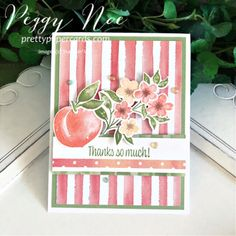 Youre A Peach, Stampin Pretty, Handmade Thank You Cards, Stampin Up Catalog, Stamping Up Cards, Paper Cards, Flower Cards, Homemade Cards, Making Ideas
