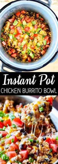 This recipe for Instant Pot Chicken Burrito Bowl is packed with flavor and so easy to make. Boneless, skinless chicken breast, mexican rice, black beans, and fire roasted tomatoes make this easy Instant Pot dinner incredibly flavorful!