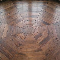 "Wide Plank Walnut Flooring | Parquet pattern in 4"" wide Northern American Steamed Walnut flooring ..."