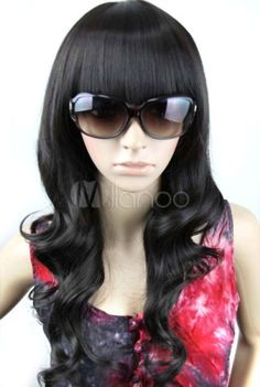 red wigs for black women | Beautiful 70cm Black Neat Bang Curly Nylon Girls Fashion Wig $$42.99 ...