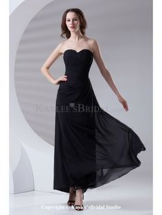 Chiffon Sweetheart Sheath Ankle-Length Gathered Ruched Prom Dress