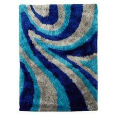 DonnieAnn Company Flash Shaggy Blue Abstract Wave Area Rug Rug Size: 5' x 7'