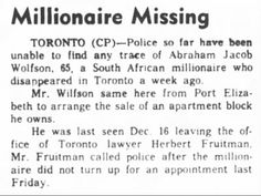 Clipping found in The Ottawa Journal in Ottawa, Ontario, Canada on Dec Millionaire Missing Ottawa