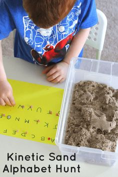 Kinetic Sand Alphabet Hunt with Letter Beads. Great for preschoolers!