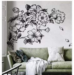 Flower Wall Decals-Removable Wall Stickers – The Treasure Thrift Wall Stickers Home Decor, Wall Decor, Wall Stickers Vintage, Wall Art, Diy Wall, Decorating Your Home, Diy Home Decor, Decorating Ideas, Decorating Websites