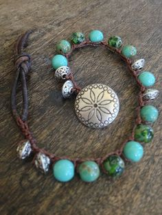 Crochet Leather Wrap Bracelet Boho Chic by TwoSilverSisters, $17.00